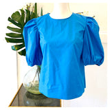 White OR Cobalt Blue Poplin Puff Sleeve Top with Keyhole Back