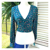 Teal & Blush Satin Leopard Print Button Down Top with Smocked Back