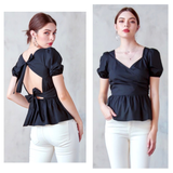 Black Puff Sleeve Shirred Peplum Top with Double Bow Back