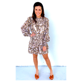 Ivory Brown Black Cheetah Print with METALLIC GOLD Dots Smocked Ruffle Dress