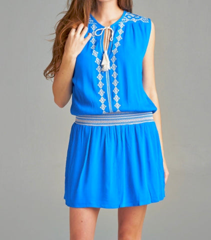Cobalt Blue Drop Waist Embroidered Dress