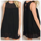 Black Eyelet Shift Dress with Tassel Tie Back