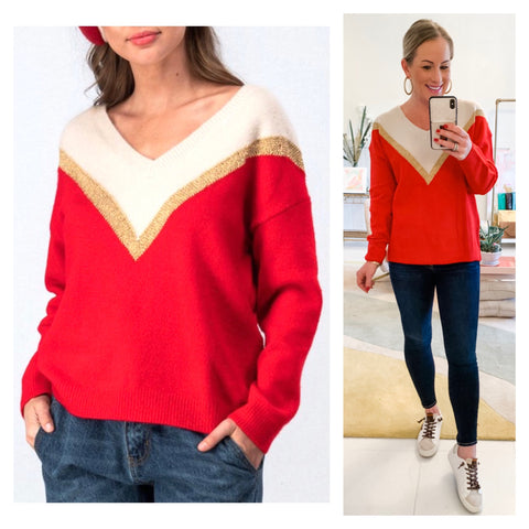 Red METALLIC GOLD & Ivory Chevron Sweater