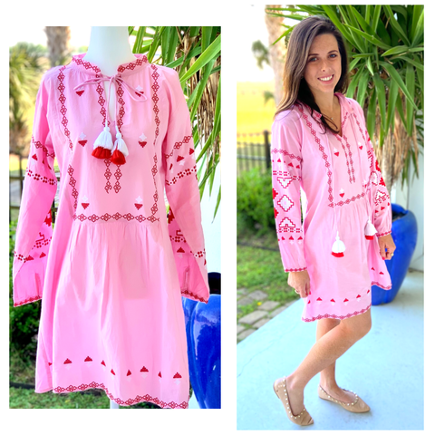 Pink & Red Embroidered Isa Dress