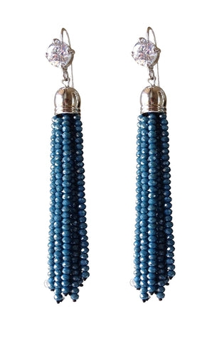 Navy and Silver CZ Dangle Bead Earrings