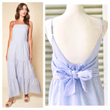 Blue & Pink Gingham Seersucker Tiered Hem Maxi Dress with Open Bow Back