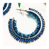 "Blue Grey Contrast Sparkly Beaded 1.5"" Hoops"