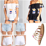 Light Blue OR White Distressed Denim High-Low Midrise Shorts