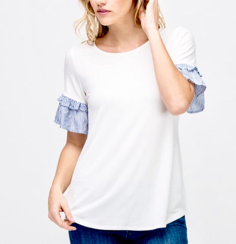 White Tee with Blue Seersucker Ruffle Sleeves