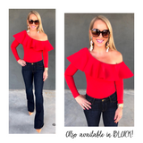 Bright Red OR Black One Shoulder Long Sleeve Bodysuit with Scuba Material Ruffle