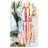 White & Watercolor Short Bubble Sleeve Button Down A-Line Dress with Banded Waist