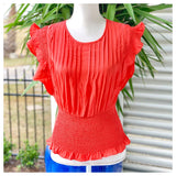 Deep Coral Pleated Ruffle Sleeve Top with Smocked Waist & Keyhole Back