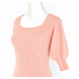 Kiwi, Eggshell or Soft Pink Banded Puff Sleeve Textured Knit Staple Tops