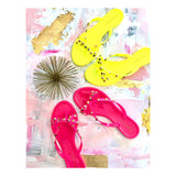 Neon Yellow Valentino Inspired Rockstud Bow Sandal