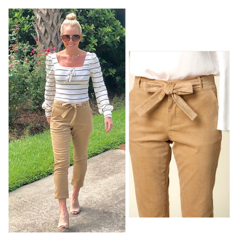 Camel Corduroy Cigarette Pants with Self Tie Belt