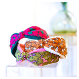 White Pink or Teal Floral Top Knot Headband