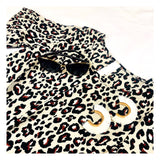 Leopard Print Ruffle Bell Sleeve Top with Front Tie