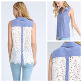 Blue Button Down Top with Eyelet Back