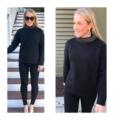 Black Heavy Soft Knit Sweater with RHINESTONE Wide Round Collar