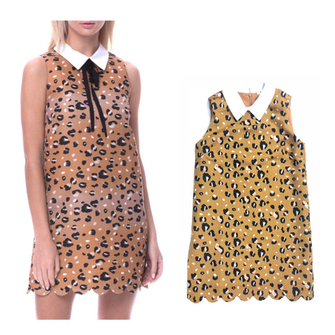 Camel Leopard Print Scalloped Hem Dress with Shirt Collar & DETACHABLE Black Collar Ribbon