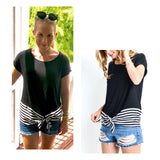 Black Tee with Black Stripe Chiffon Contrast Hem & Self Tie Bow