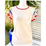 Ivory & Rainbow Stripe Fine Knit Sweater Top with Banded Waist