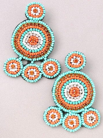 Turquoise Orange & White Beaded Circle Drop Stud Earrings