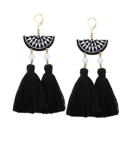 Black White Halfmoon Double Fan Tassel Earrings