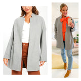 Light Grey Textured Felt Open Front Jacket with Stand Collar & Pockets