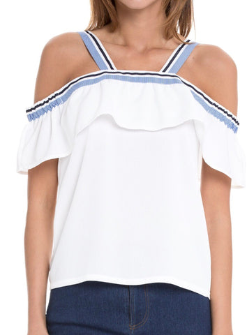 White Cold Shoulder Top with Blue Contrast Ribbon Trim
