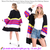 Black Pink Red Purple & Yellow Stripe Heavy Knit Bishop Sleeve Open Front Cardigan