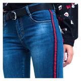 Dark Wash Skinny Jeans with Red & Navy Embroidered Leg Stripe