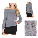 Grey Sweater with Multicolor Confetti Embroidered Dots