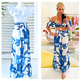 White & Blue Leaf Print Smocked Tiered Hem Maxi Skirt & Optional Matching Top (sold together)