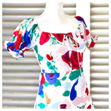 White Red Purple & Teal Abstract Floral Print Puff Sleeve Dress with Smocked Back