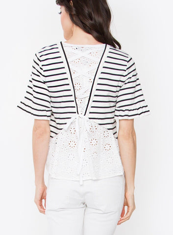 Navy White Stripe Bell Sleeve Top with Eyelet Corset Back Detail