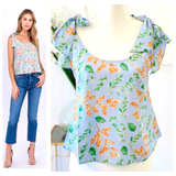 Blue, Orange & Green Floral Print Tie Shoulder Swing Top with Button Down Back