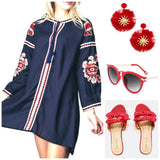 High Low Navy Tunic Dress with Red and White Embroidery and Tassel Tie