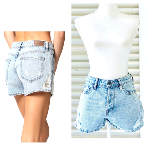 Relaxed Fit High Waist Jean Shorts with Distressed Sides