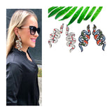 Rhinestone Embellished Snake Earrings