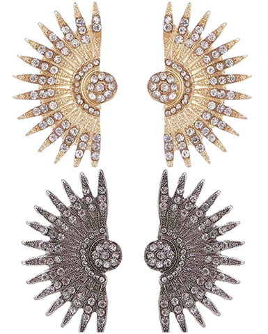 Gold OR Gunmetal Fan Shaped Gold CZ Earrings