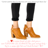 Camel Leather Bias Cut Booties with Ivory Stitching & Back Zip