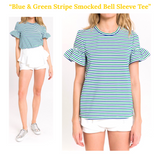 Blue & Green Stripe Smocked Bell Sleeve Tee