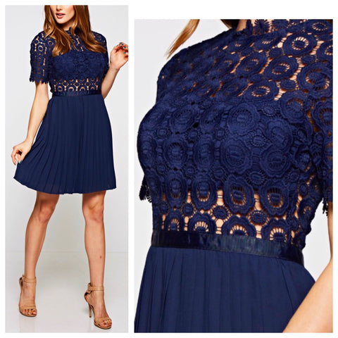 Navy Peekaboo Lace Dress with Pleated Skirt