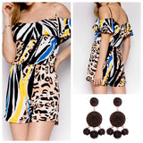 Multicolor Animal Print Romper