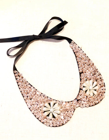 Rose Gold and Pearl Faux Collar Necklace with Ribbon Tie