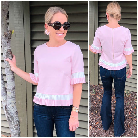 Baby Pink & White Pleated Bell Sleeve Top with Beautiful Exposed Gold Back Zipper