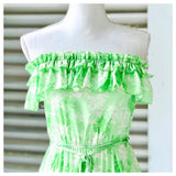 Paradise Green Strapless Ruffle Bust Dress with Drawstring Waist
