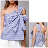 Blue White Stripe One Shoulder Bow Top