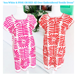 Ava White & RED Or PINK All Over Embroidered Textile Dress